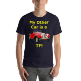 Bella and Canvas Short-Sleeve Unisex T-Shirt: TF yellow text