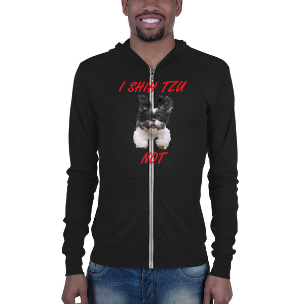 Bella and Canvas Unisex zip hoodie: Shih Tzu red text