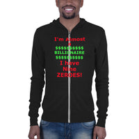 Bella and Canvas Unisex zip hoodie: Billionaire red text