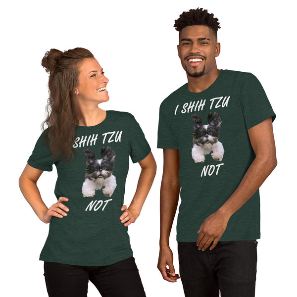 Bella and Canvas Short-Sleeve Unisex T-Shirt: Shih Tzu white text