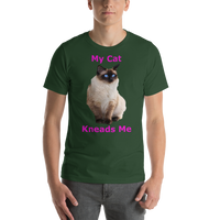 Bella and Canvas Short-Sleeve Unisex T-Shirt: kneads me Siamese magenta text