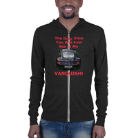 Bella and Canvas Unisex zip hoodie: Only view Vanquish red text