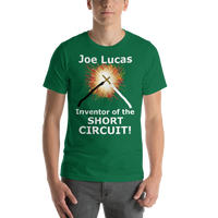 Bella and Canvas Short-Sleeve Unisex T-Shirt: Joe Lucas inventor of the short circuit white text