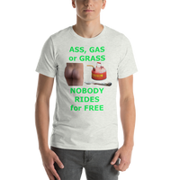 Bella and Canvas Short-Sleeve Unisex T-Shirt: ass gas or grass green text