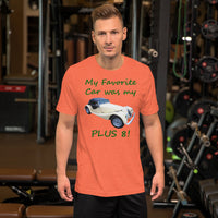 Bella and Canvas Short-Sleeve Unisex T-Shirt: Favorite car Plus 8 BRG text