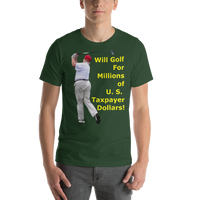 Bella and Canvas Short-Sleeve Unisex T-Shirt: millions of taxpayer dollars yellow text