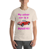 Bella and Canvas Short-Sleeve Unisex T-Shirt: Bugeye magenta text
