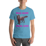 bella and Canvas Short-Sleeve Unisex T-Shirt: Wag more magenta text