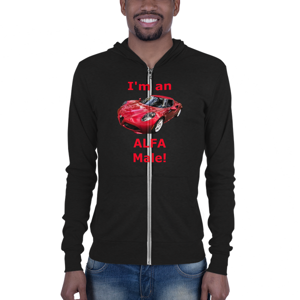 Bella and Canvas Unisex zip hoodie: Alfa Male red text