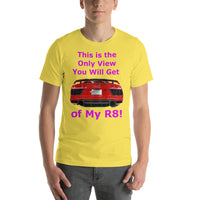 Bella and Canvas Short-Sleeve Unisex T-Shirt: Only View R8 magenta text