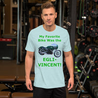 Bella and Canvas Short-Sleeve Unisex T-Shirt: Favorite Bike Egli Vincent green text