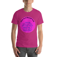Bella and Canvas Short-Sleeve Unisex T-Shirt: Round Tuit blue text on magenta