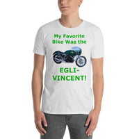 Gildan Short-Sleeve Unisex T-Shirt: Favorite Bike Egli Vincent green text