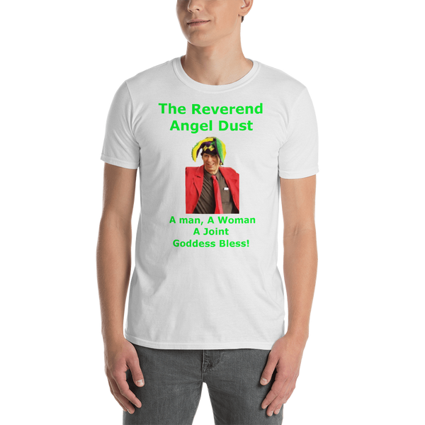 Gildan Short-Sleeve Unisex T-Shirt: The Reverend Angel Dust Green Text