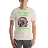 Bella and Canvas Short-Sleeve Unisex T-Shirt: immigrants green text