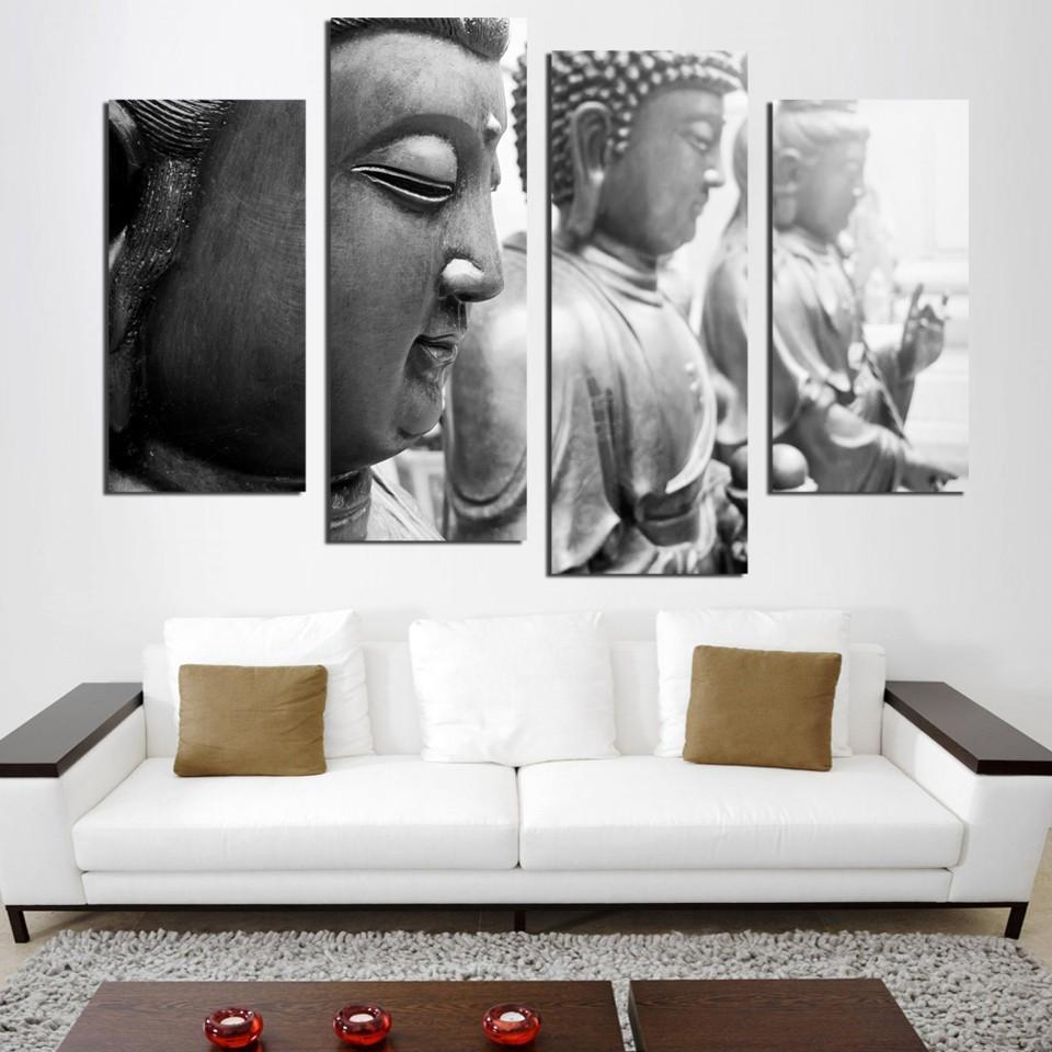Old Staggered Buddha 5 Piece Canvas Art Wall Art Picture Painting