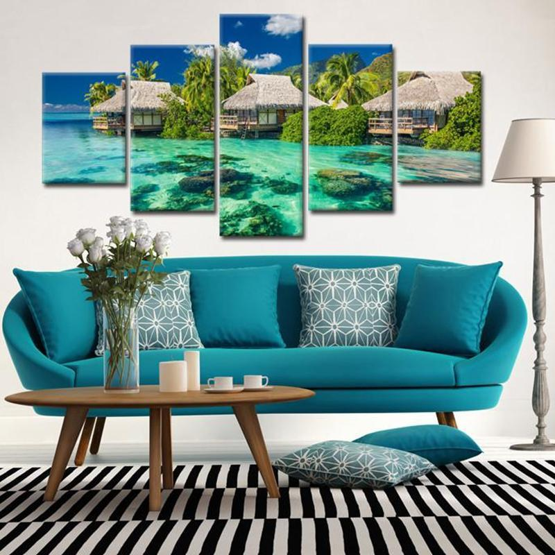Resort Water Tropical 5 Piece Canvas Art Wall Art Picture ...