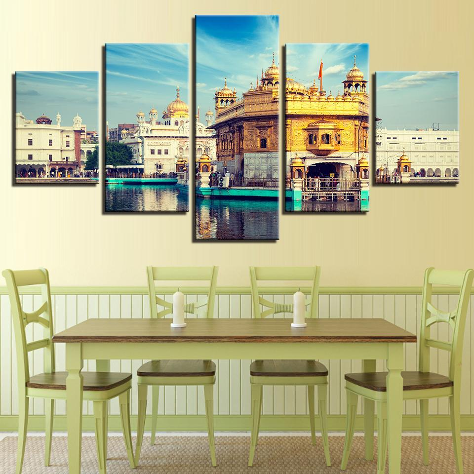 Golden Temple Darbar Sahib 5 panel canvas Wall Art Home Decor Poster Picture
