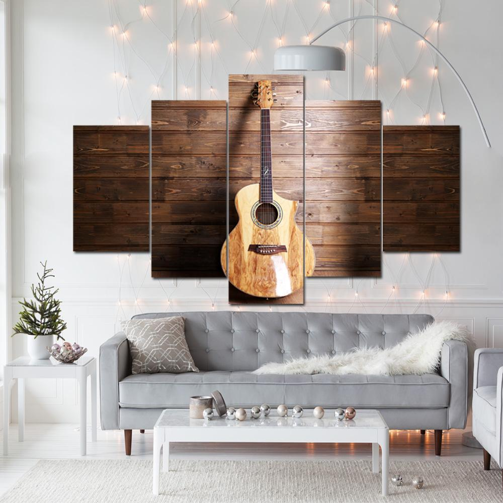 Acoustic Wooden Guitar 5 Piece Canvas Art Wall Art Picture Painting