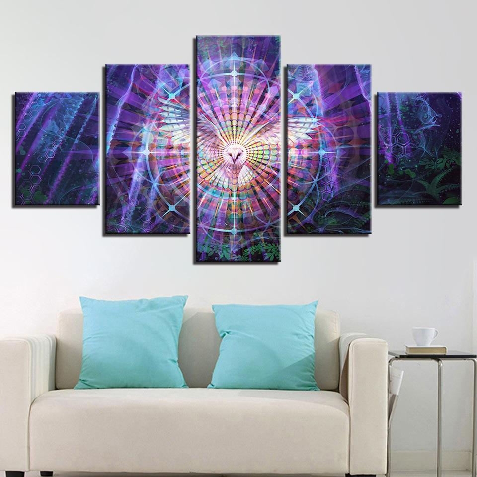 Psychedelic White Owl 5 Piece Canvas Art Wall Art Picture Painting