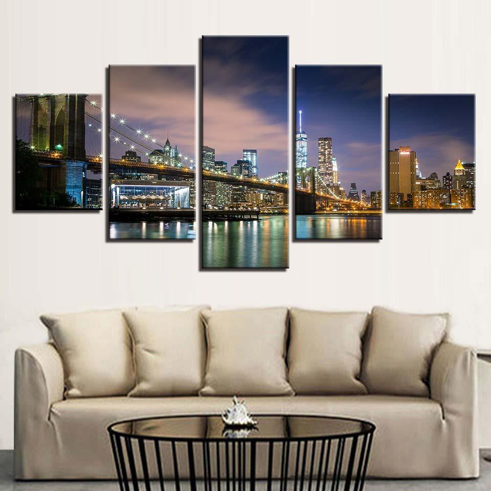 New York City At Night 5 Piece Canvas Art Wall Art Picture