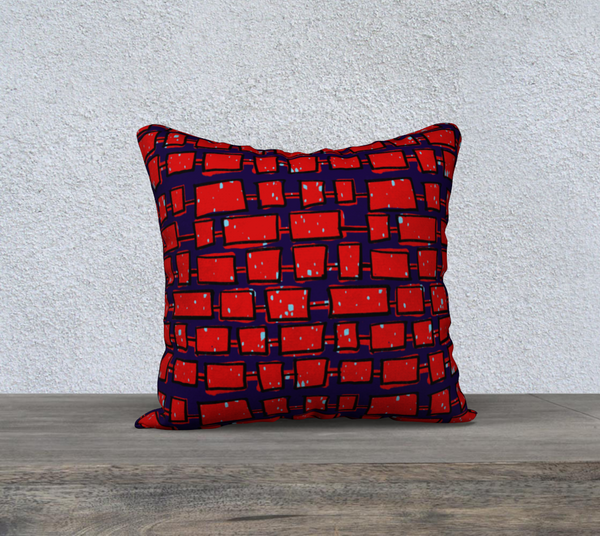 "Red Bricks - 18x18"" Throw Pillowcase"