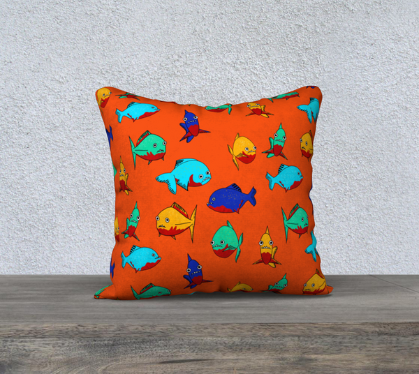 "Red-Bellied Piranhas - 18x18"" Throw Pillowcase"