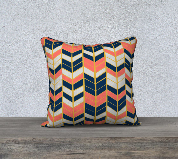 "Coral & Navy Herringbone 18x18"" Throw Pillowcase"