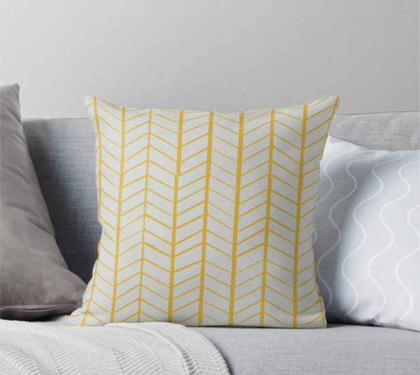 "Lightly Wonky Herringbone - 18x18"" Throw Pillowcase"