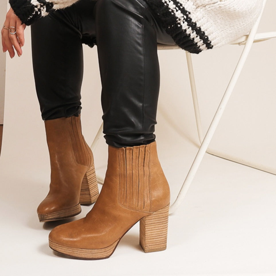 Eileen Fisher - Camel Leather Stacked Boots