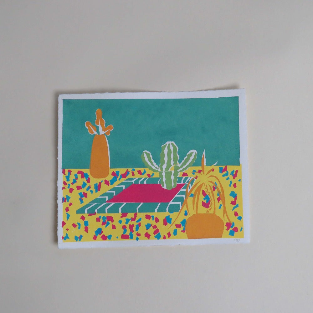 Lyndsey Illustrations Hot Tub Cactus Eco Friendly Screen Print