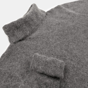 Q&A Grey Angora Wool Turtleneck Close Up