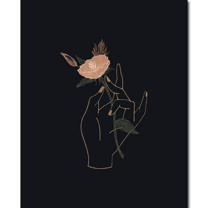 Black Lab Studio Hand Floral Wall Art Print 8x10