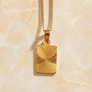 Rectangle Sunburst Pendant Necklace