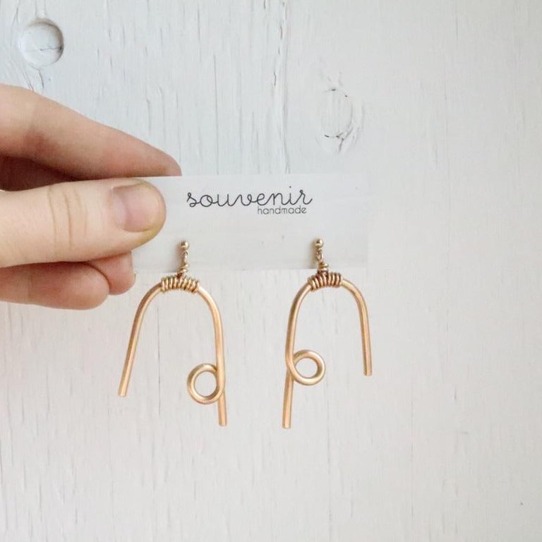 Souvenir Handmade Brass Loop Dangle Earrings on Cardstock