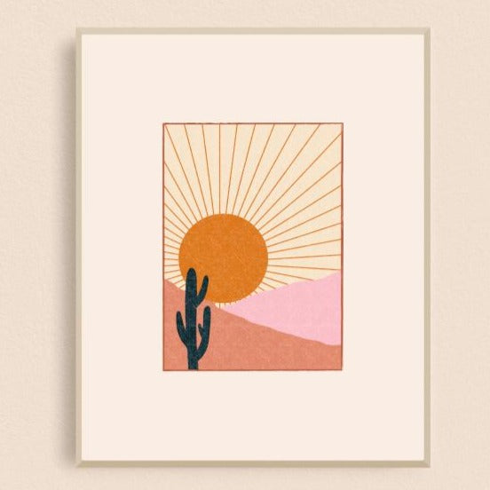Black Lab Studio Cactus Sunset 8x10 Art Print