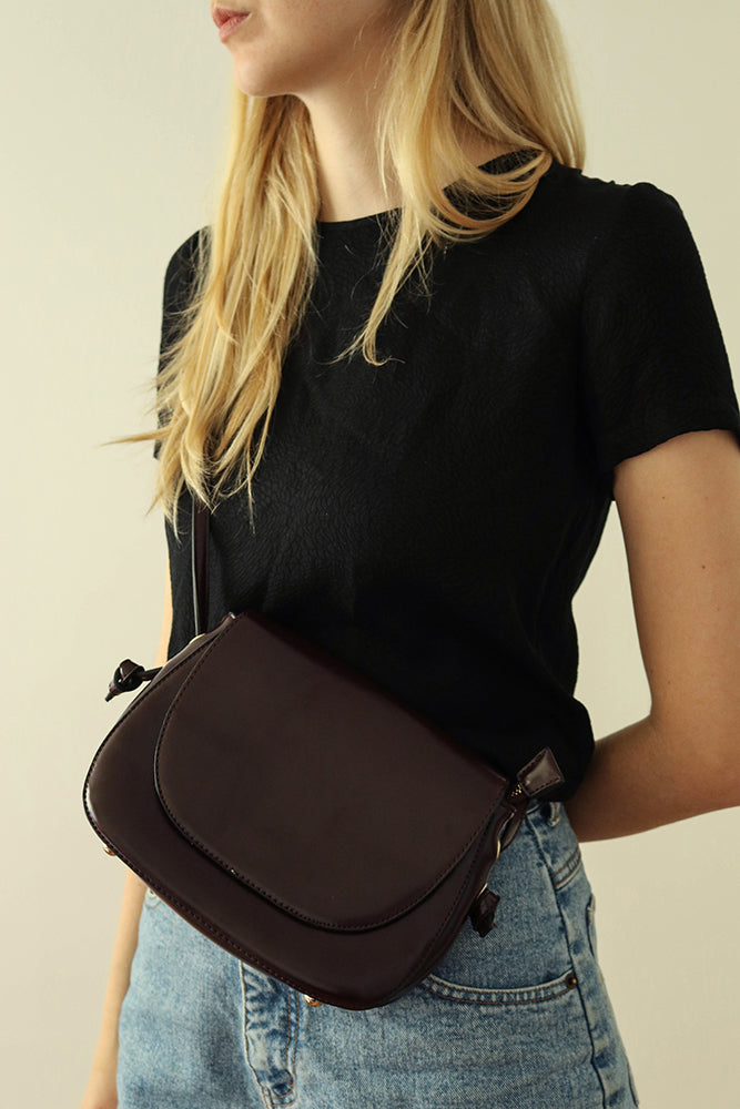 Mahogany Brown Faux Leather Crossbody Bag