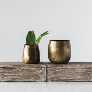 Creative Co-Op Brass Metal Planters