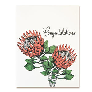 The Good Days Print Co. Protea Flower Congratulations Card