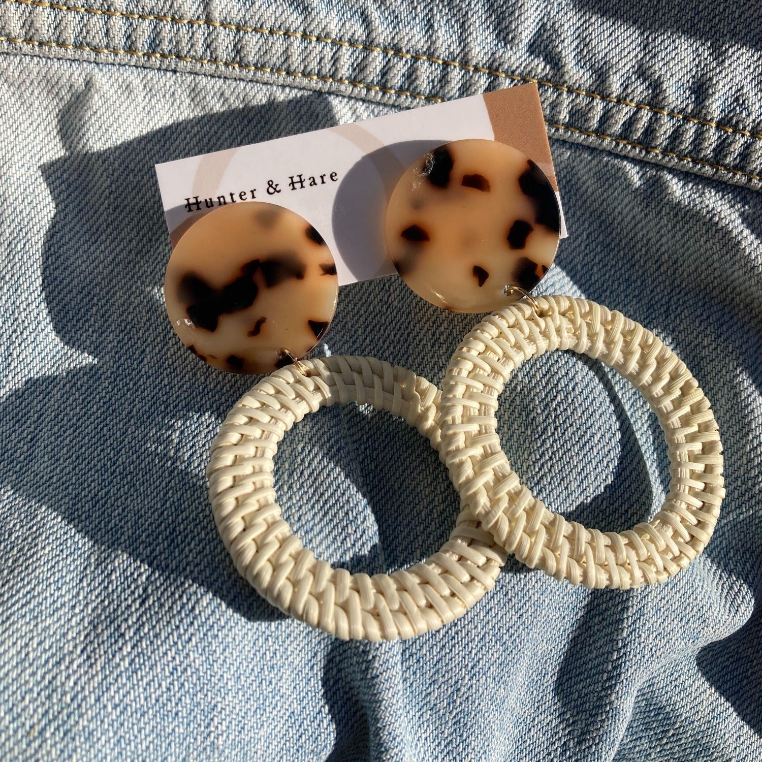 Hunter & Hare White Rattan Hoop Dangle Earrings