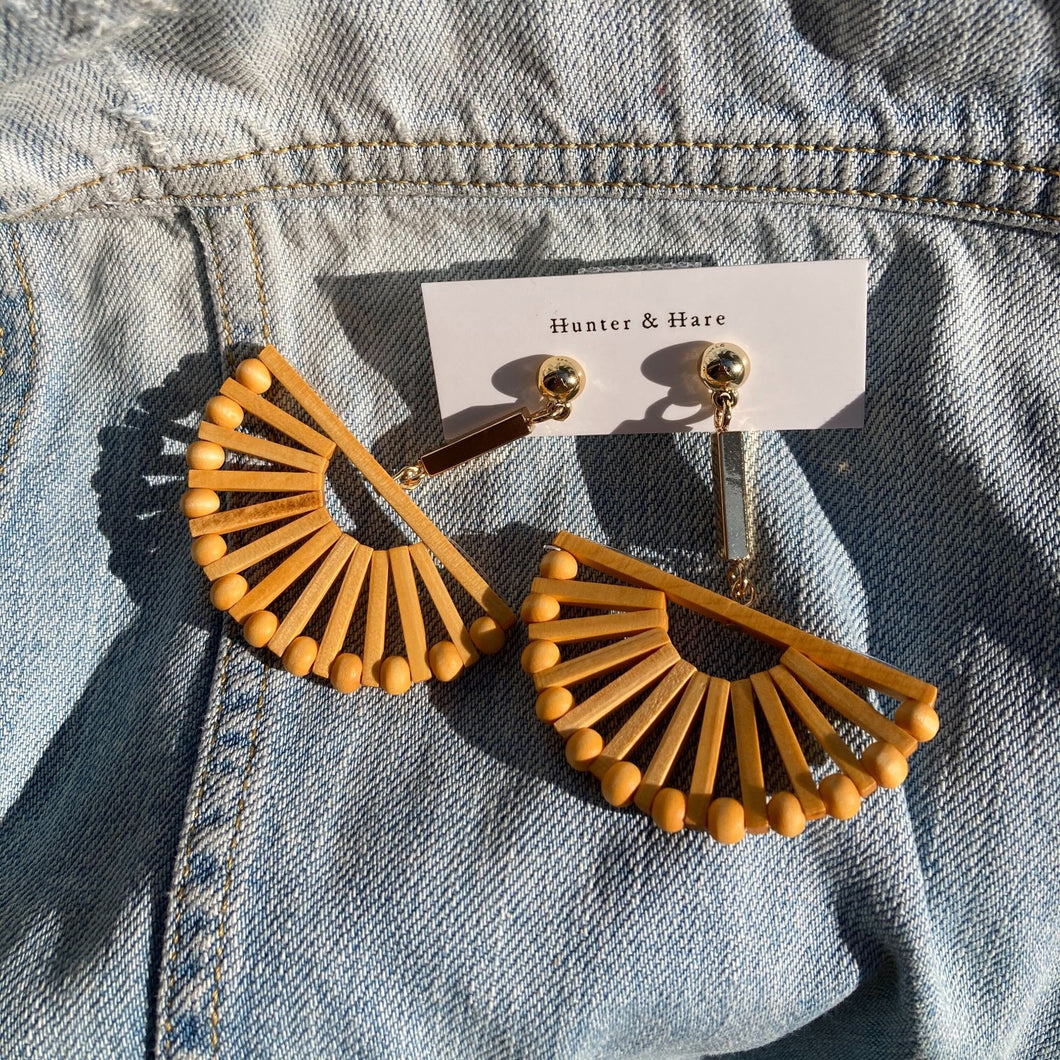 Hunter & Hare Wooden Fan Dangle Earrings