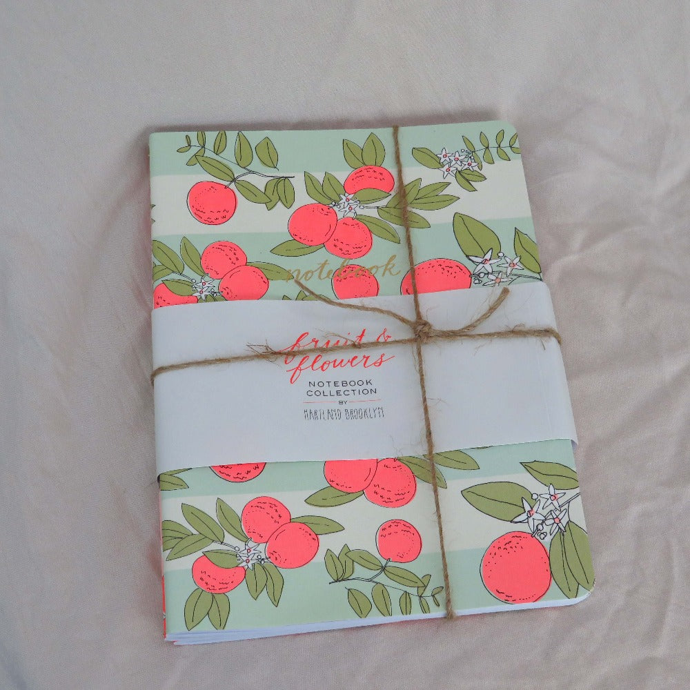 Raincoast Books Fruits & Flowers Notebook Collection Pack of 3 Front