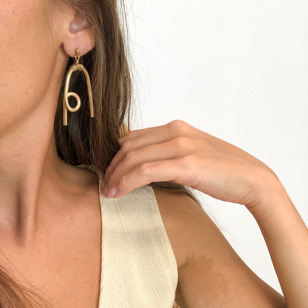 Souvenir Handmade Brass Loop Dangle Earrings Model
