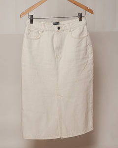 Frank & Oak - White Denim Midi Skirt