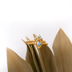 Hanune - Gold Marquise Halo Ring