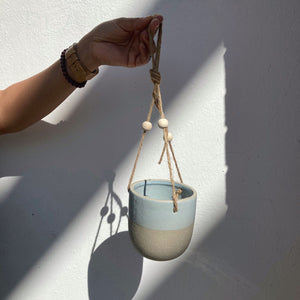 Matte Stoneware Hanging Planter Blue Grey