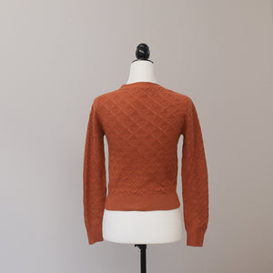 Princess Highway - Burnt Orange Pointelle Stitch Cardigan