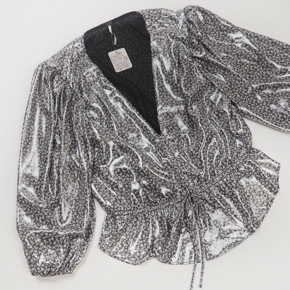 Free People - Metallic Micro Floral Cropped Blouse
