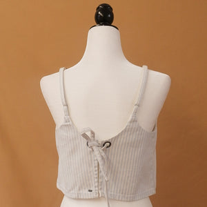 Billabong - Baby Blue & Cream Striped Back Tie Top