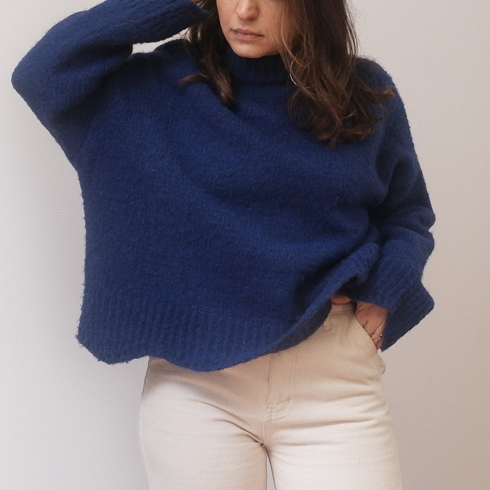 Simple - Cobalt Blue Thick Knit Boxy Sweater